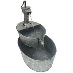 Angelo Décor Fontaine puits d'eau en métal de 43 cm avec pompe
