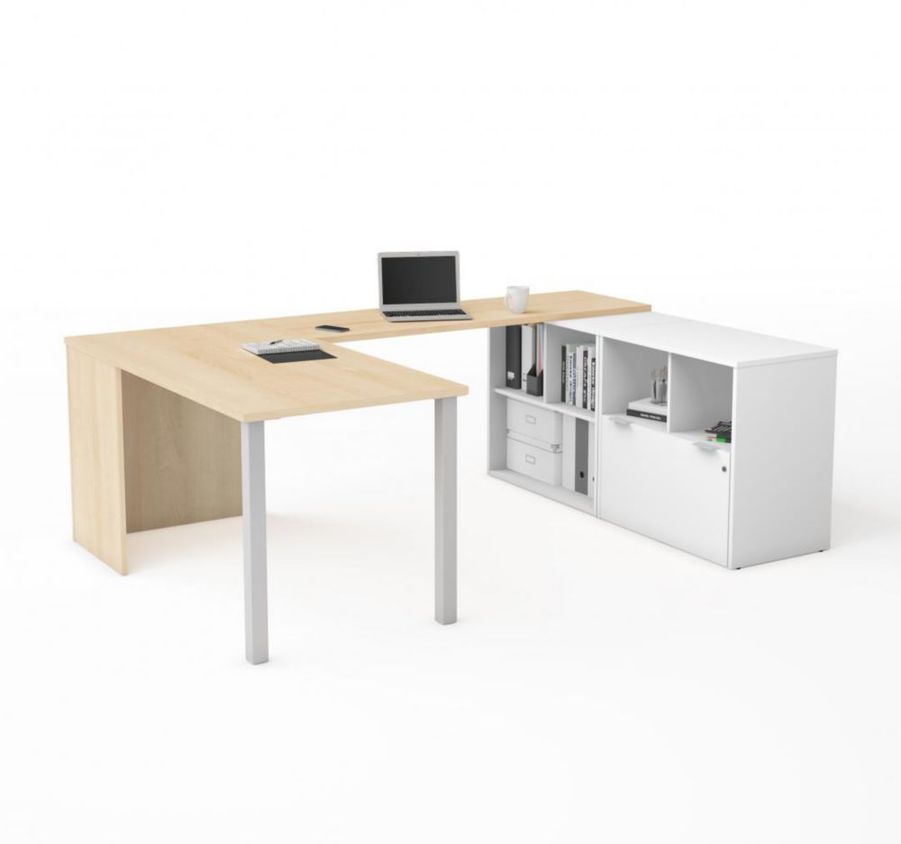 Bestar i3 Plus U-Desk with One File Drawer in Northern Maple & White
