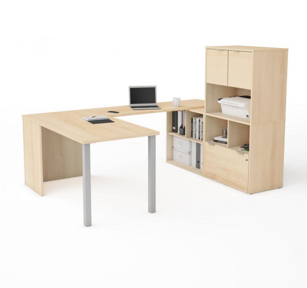 Bestar i3 Plus U-Desk with Hutch in Northern Maple