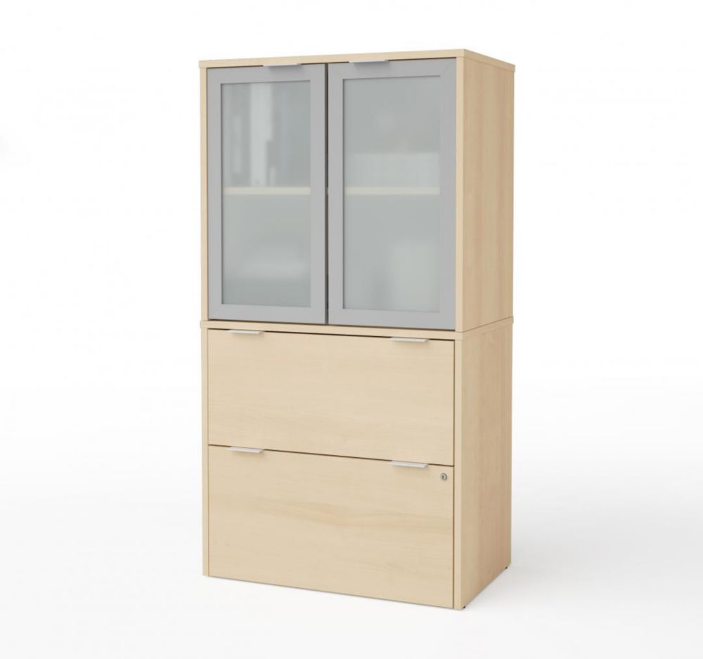 Bestar i3 Plus Lateral File with Storage Cabinet in Northern Maple