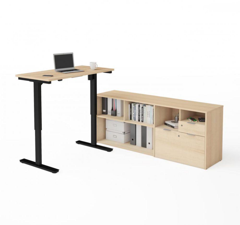 Bestar i3 Plus Height Adjustable L-Desk in Northern Maple