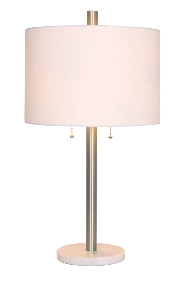 L2 Lighting 26 inch Marble table lamp- brushed steel