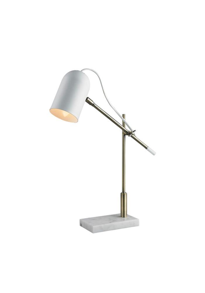 L2 Lighting Superior matte white metal task lamp with white marble base