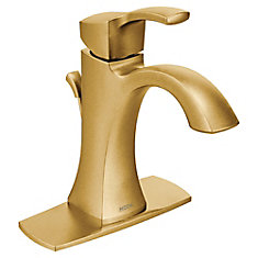 Voss Single Hole Single-Handle High Arc Bathroom Faucet in Brushed Gold