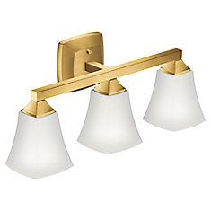 Voss Three Globe Bath Light in Brushed Gold