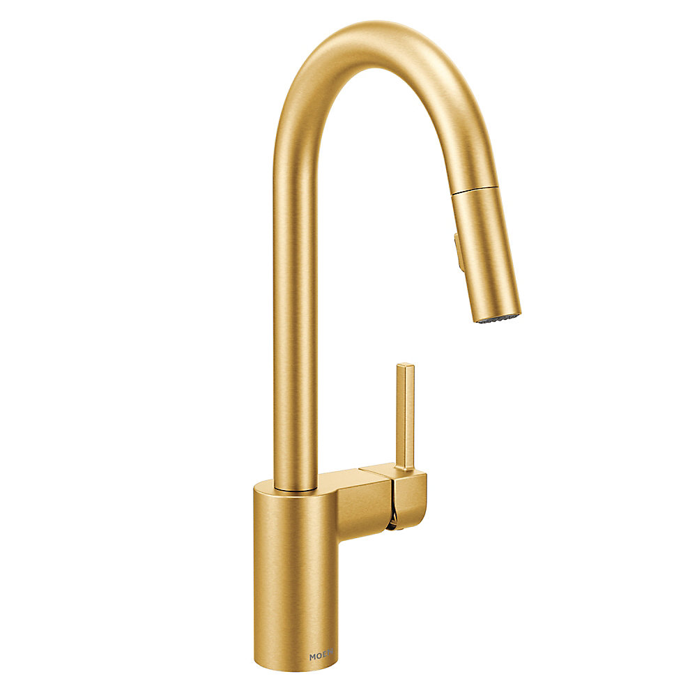 Align Single-Handle Pull-Down Sprayer Kitchen Faucet with Reflex and Power Clean in Brushed Gold