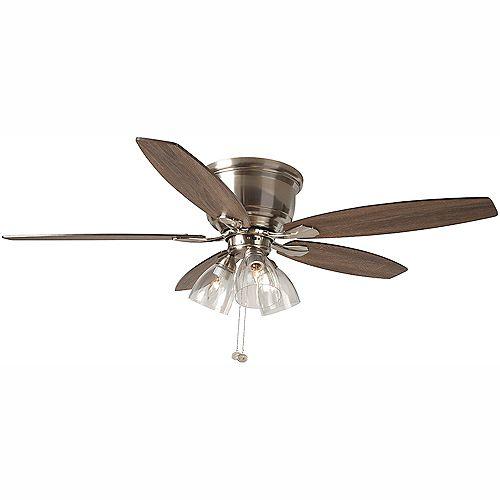 Hampton Bay Stoneridge 52 inch LED Indoor Brushed Nickel Hugger Ceiling Fan with Light Kit