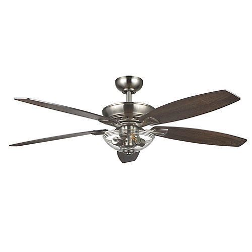 Connor 54 inch LED Brushed Nickel Dual-Mount Ceiling Fan with Light Kit and Remote Control