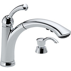 Lewiston Single Handle Pull-Out Kitchen Faucet with Soap Dispenser, Chrome