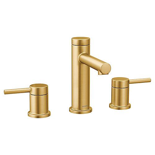 Alignez l'ensemble de garniture de robinet de salle de bains à 2 poignées de 8 po en or brossé (robinet vendu séparément).
