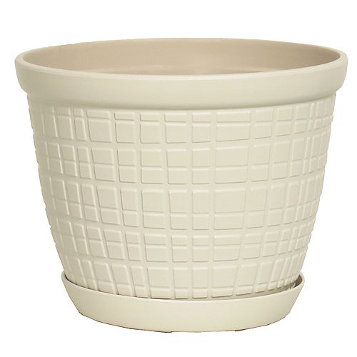 THD Generic Adelyn 8-inch Round Plastic Planter with Saucer in Glossy White