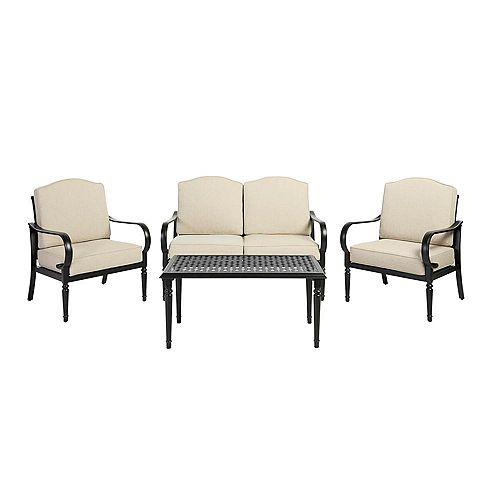 Hampton Bay Laurel Oaks 4-Piece Brown Steel Outdoor Patio Conversation Seating Set with Standard Putty Tan Cushions
