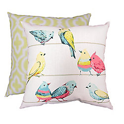 HFI Pillow - 20x20 Birds on A Wire Print / Ironwork (2-Pack)