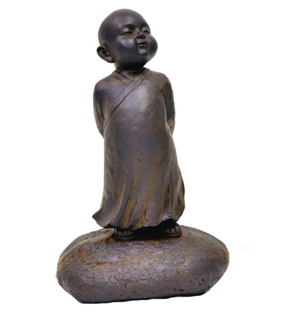 Hi-Line Gift Baby Buddha Standing Statue, Black Rust Color