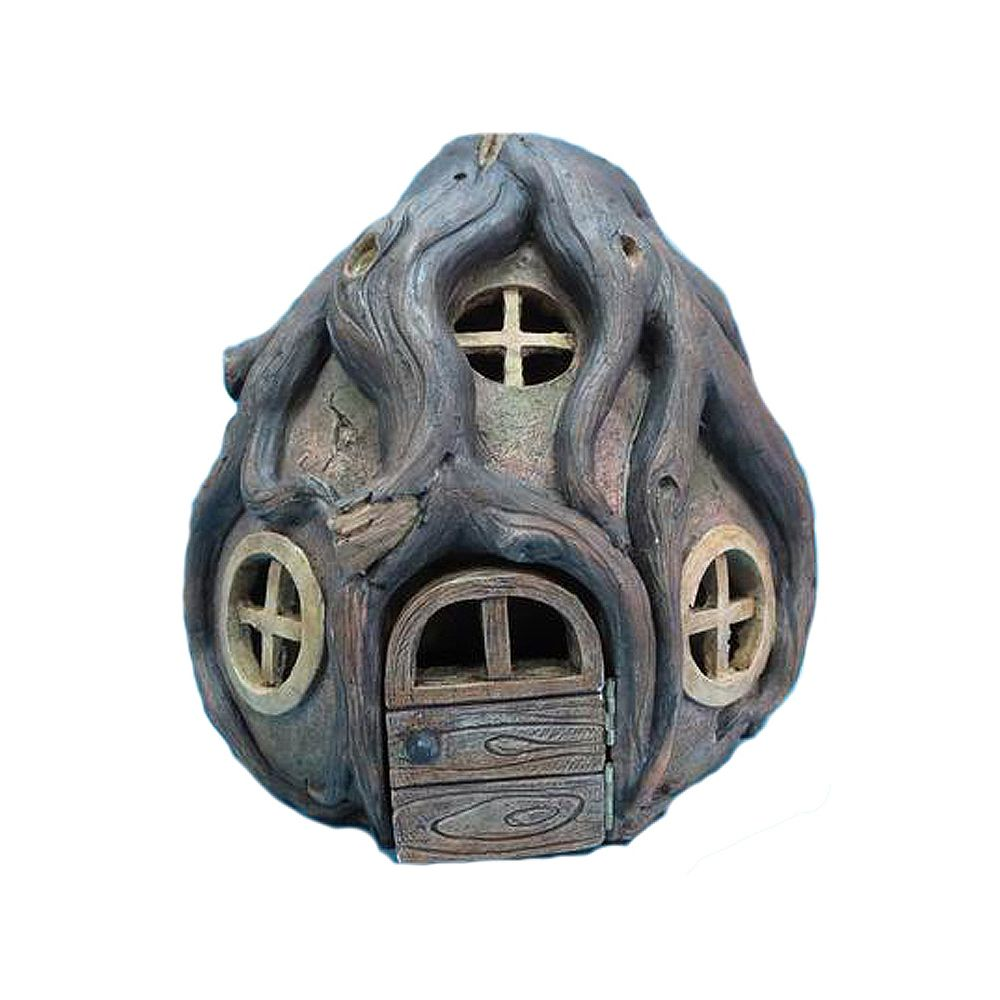 Hi-Line Gift Fairy Garden Stone House with Roots Statue