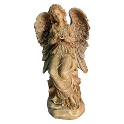 Hi-Line Gift Angel Standing Holding Birds Statue, Sand Finish