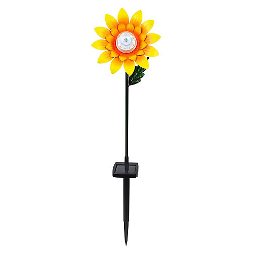 Sunflower Staker with Solar LED Lights Statue, 27.5 Tall