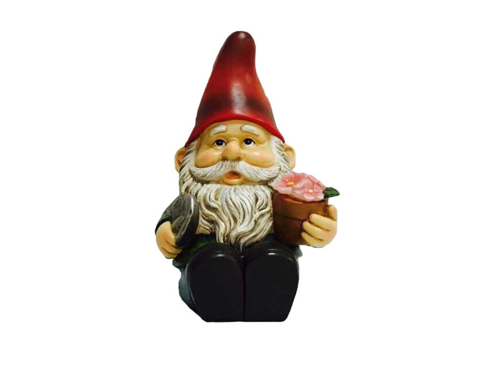 Hi-Line Gift Gnome Sitting with Shovel and Glowing Flower Statue