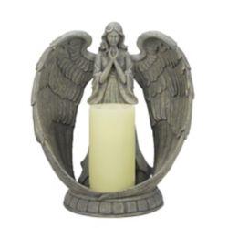 Hi-Line Gift Angel Flameless Candleholder, Grey Color, 14 Tall