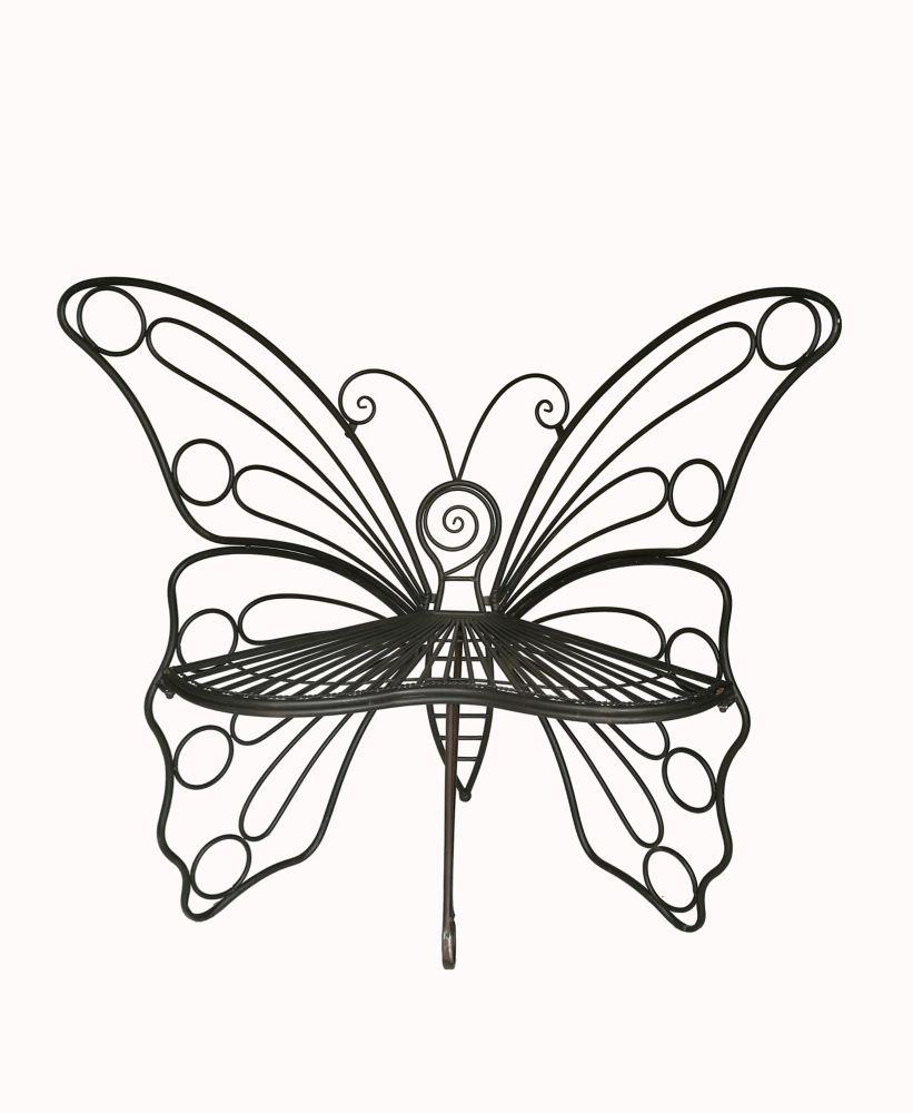 Hi-Line Gift Butterfly Garden Bench, Black Color