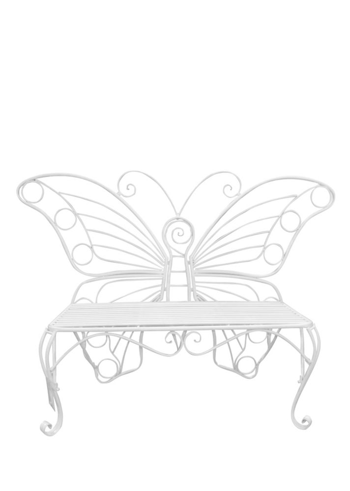 Hi-Line Gift Butterfly Garden Bench, White Color Height 39 inch