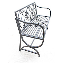 Hi-Line Gift Metal Bench with Arms and Scroll Design, Black Color