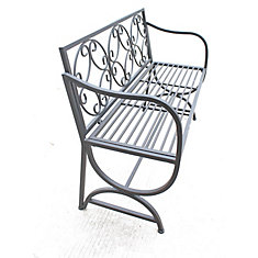 Metal Bench with Arms and Scroll Design, Black Color