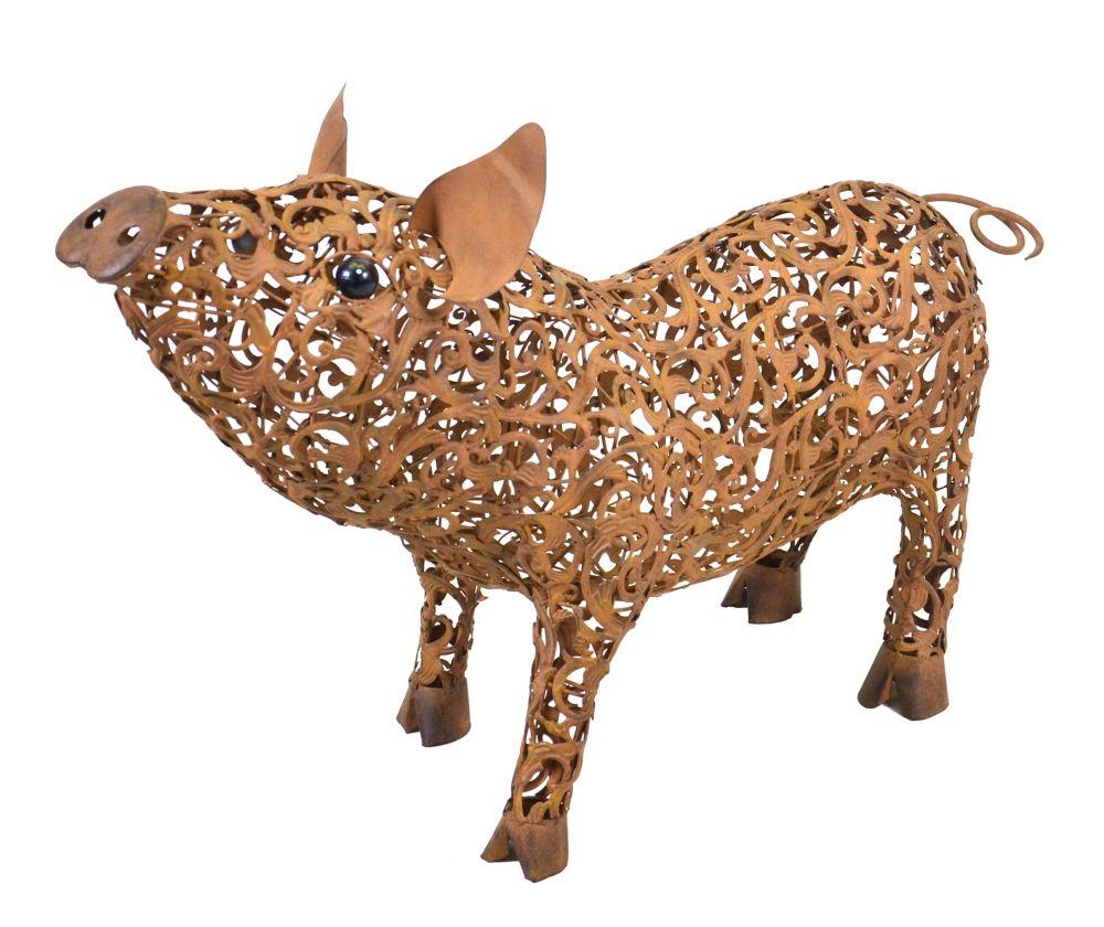 Hi-Line Gift Statue d'un  cochon regardant vers le haut