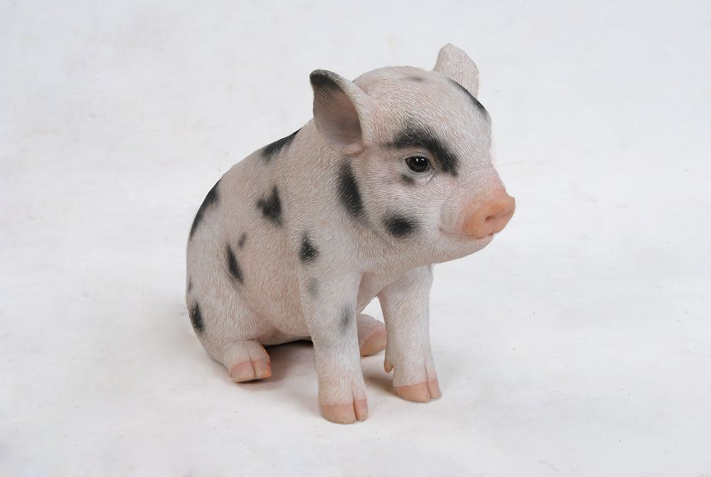 Hi-Line Gift Baby Pig with Black Spots  Sitting  Statue