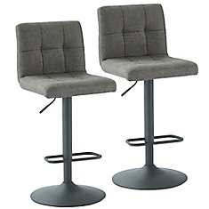 Sorb Adjustable Height Fabric Stool, Grey, Set of 2