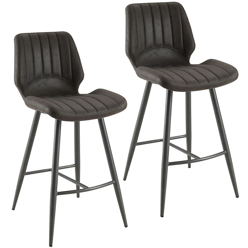 !nspire Aspira Faux Suede Counter Stool, Grey, Set of 2