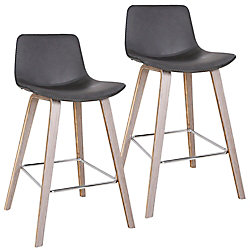 !nspire Durant Mid Century Counter Stool, Charcoal, (Set of 2)
