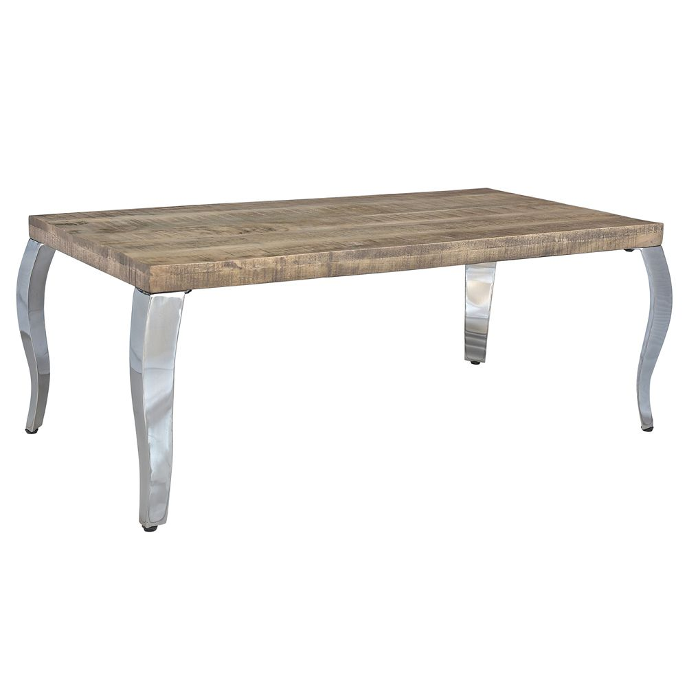 Solid Chrome Coffee Table: !nspire Natalia Solid Wood/Chrome Coffee Table