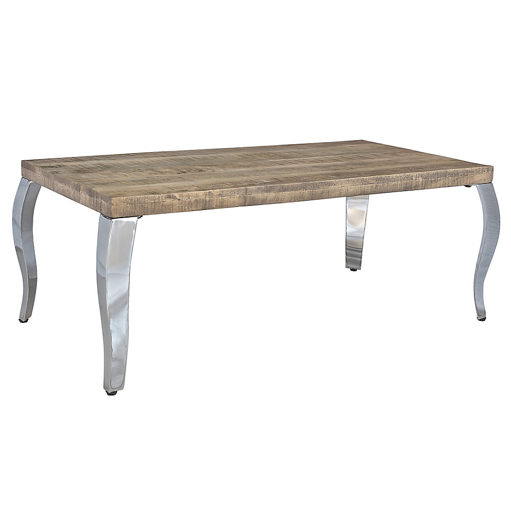 Wooden Coffee Table.Natalia Solid Wood Chrome Coffee Table
