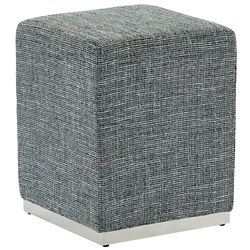 !nspire Hugo Ottoman with Silver base, Grey Blend
