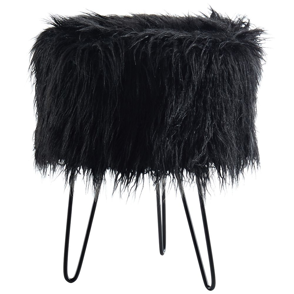!nspire Ivanka Faux Fur Ottoman, Black