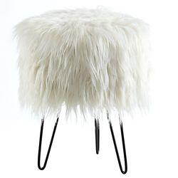 !nspire Ivanka Faux Fur Ottoman, White