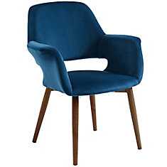 Miranda Velvet Accent Chair, Blue