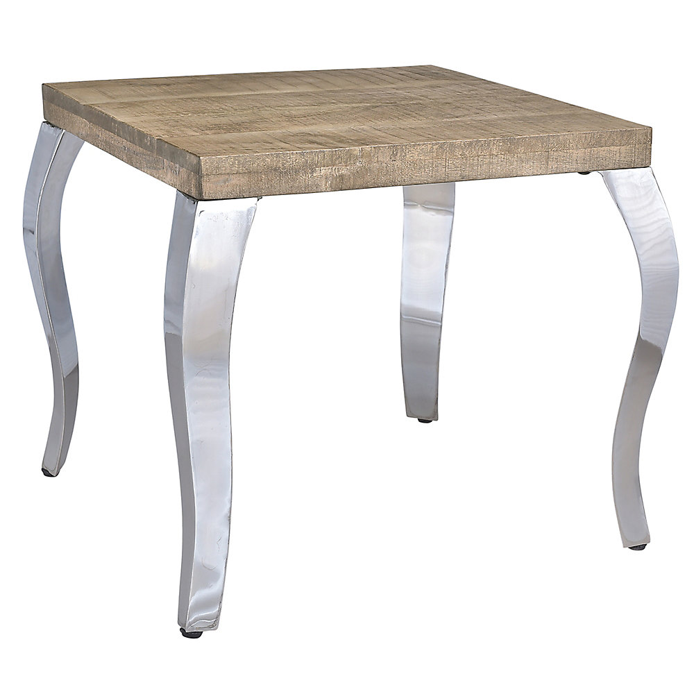 Natalia Solid wood/Chrome Accent Table