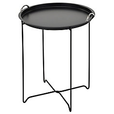 Flint Metal table with lift off serving tray, Black