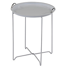 Flint Metal table with lift off serving tray, White