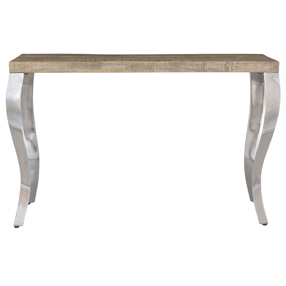 Nspire natalia solid wood chrome console table this modern
