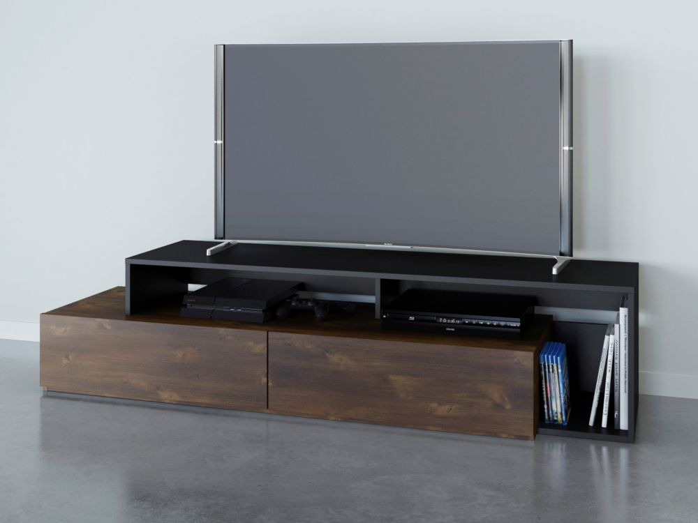 Nexera Paisley 72 inch TV Stand, Truffle and Black