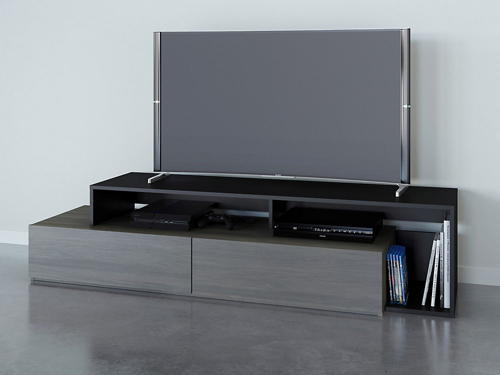 Damask 72 inch TV Stand, Bark Grey and Black