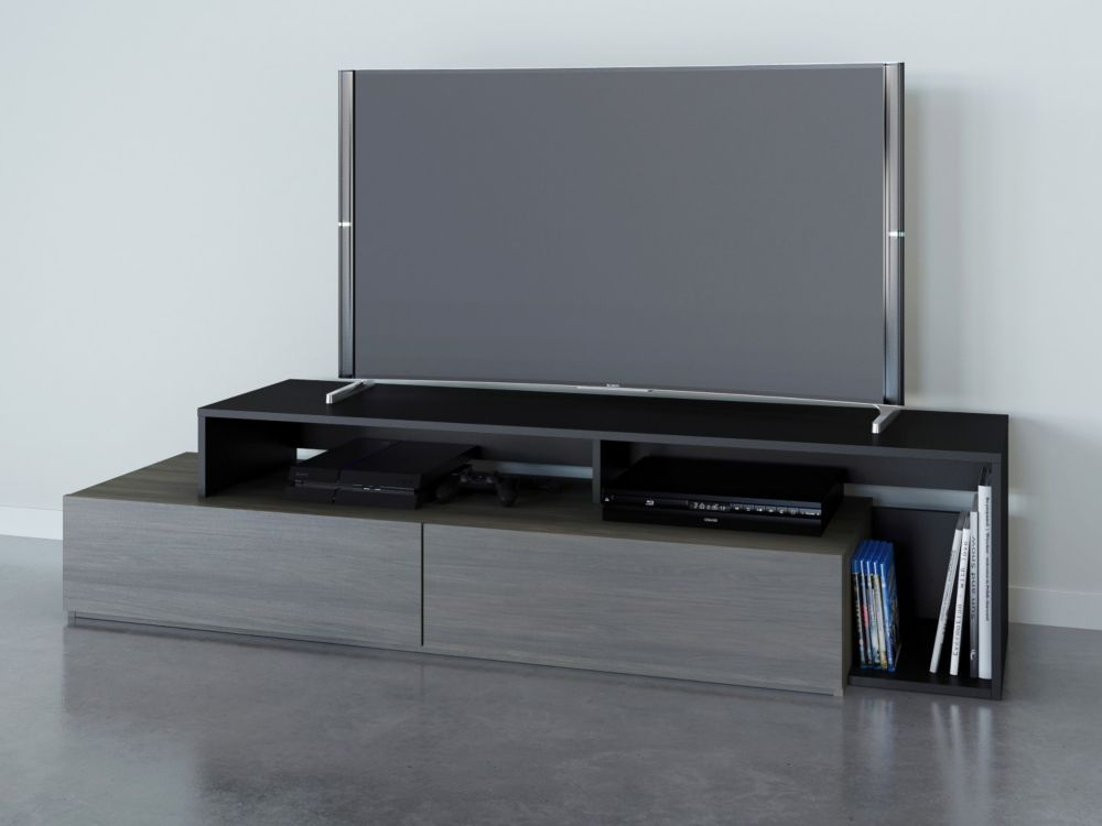 Nexera Damask 72 inch TV Stand, Bark Grey and Black