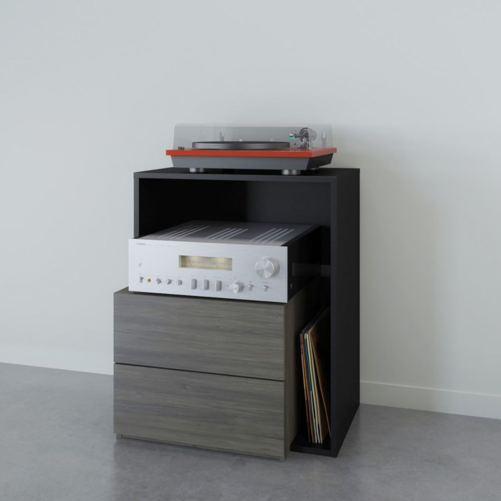 Nexera Damask Audio Tower, Bark Grey and Black