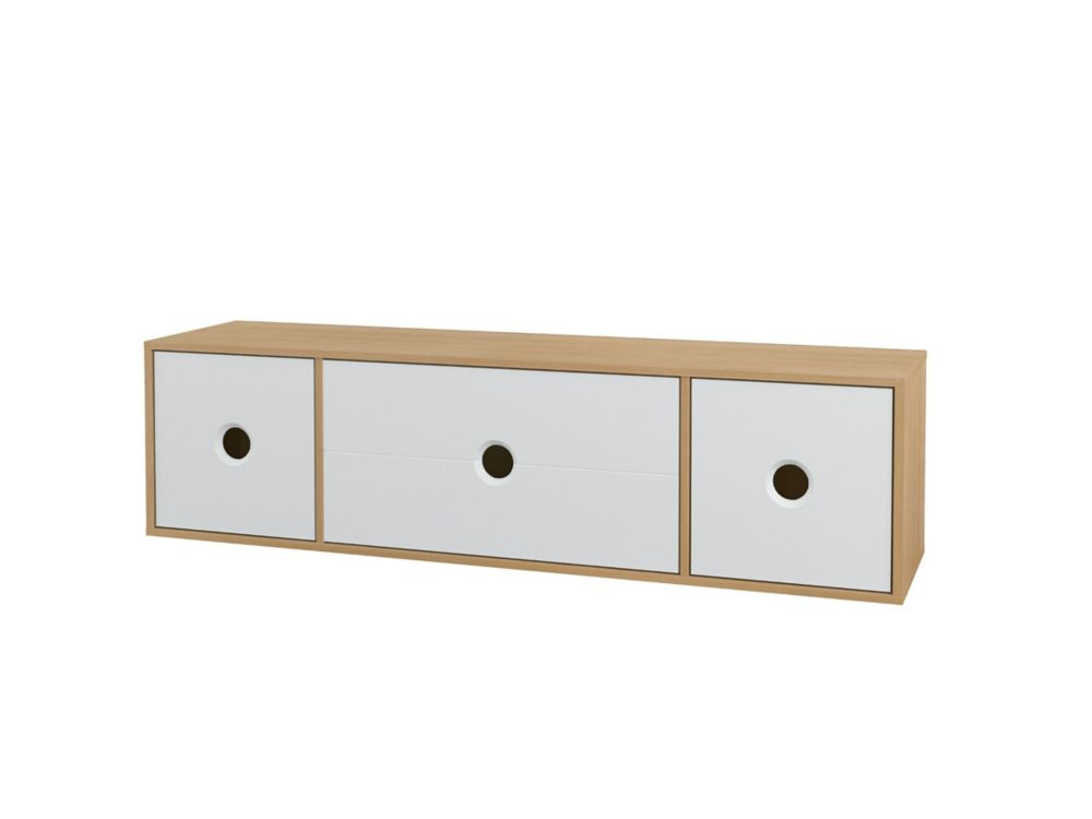 Nexera Domino 60 inch TV Stand, Natural Maple and White