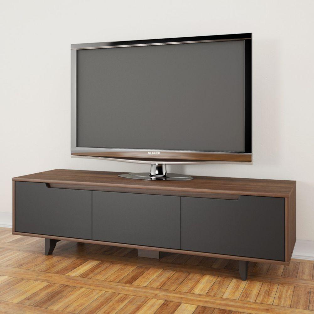 Nexera Alibi 60 Inch Tv Stand Walnut And Charcoal The Home Depot