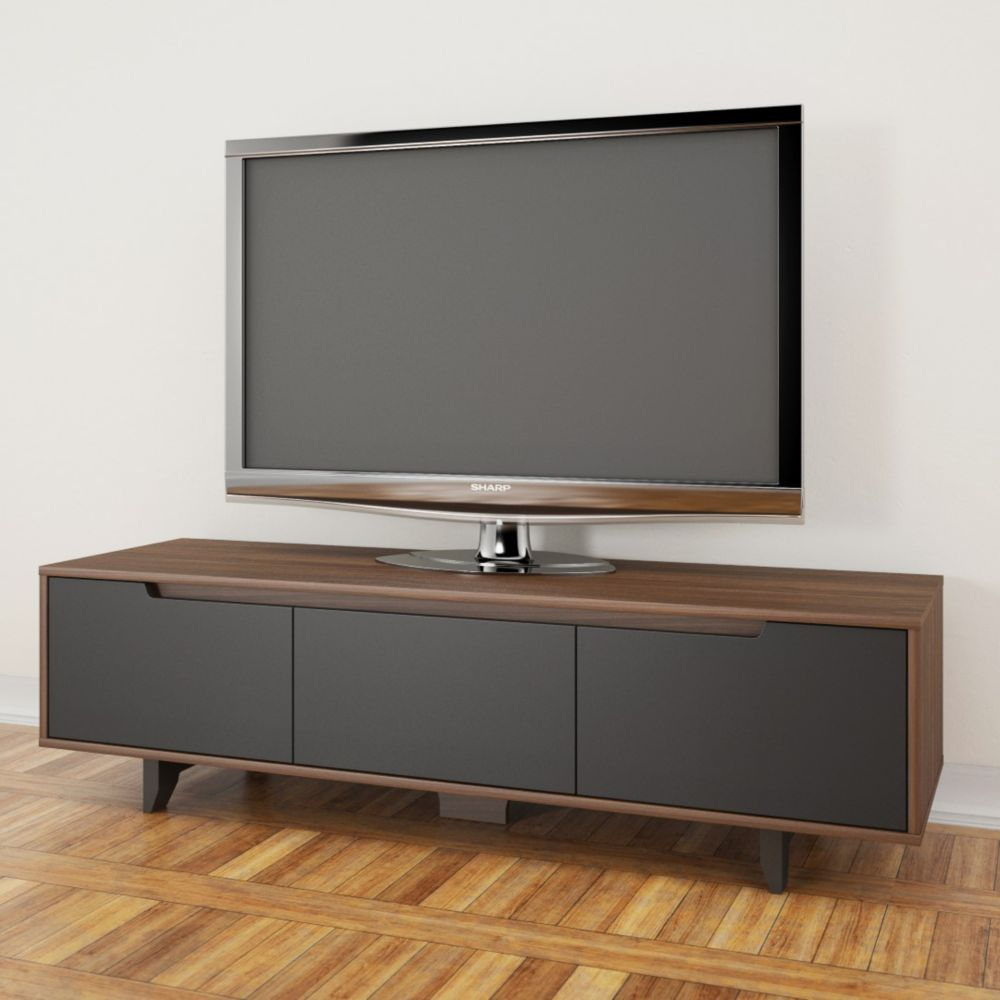 Nexera Alibi 60-inch TV Stand, Walnut and Charcoal