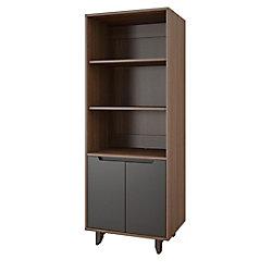 Nexera Alibi Bookcase/Audio Tower, Walnut and Charcoal